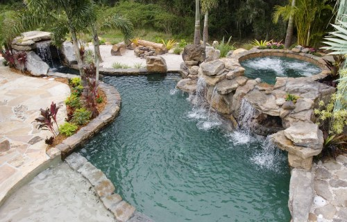 Natural Stone Grotto Waterfall with Elevated Spa