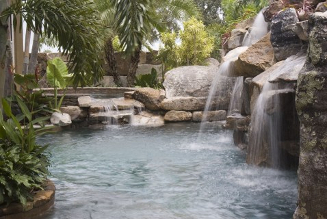 Waterfall and spa
