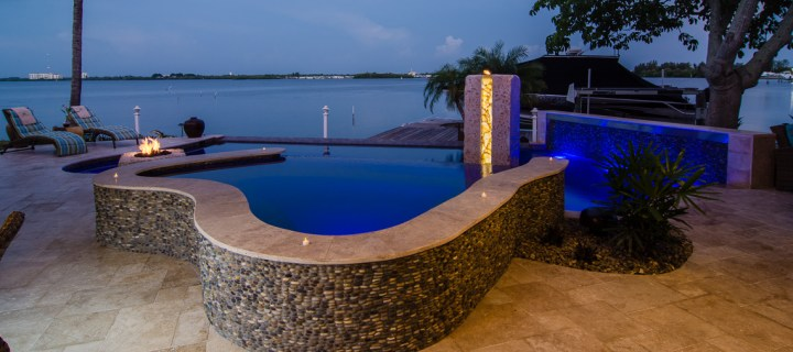 Overview of the Travertine Deck, Modern Zen Spa with Infinity edge