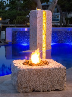 Fire Pit and Modern Monolith