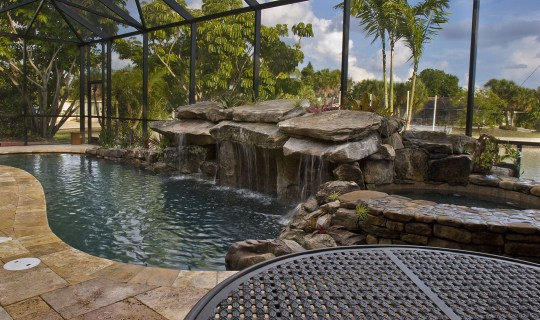 Pool Remodel with Stone Grotto Waterfall and Stone Spa water feature