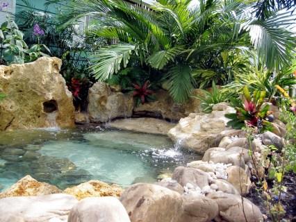 Natural lagoon waterfall