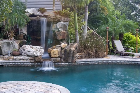 Tall Grotto Waterfall Lagoon Pool Remodel After