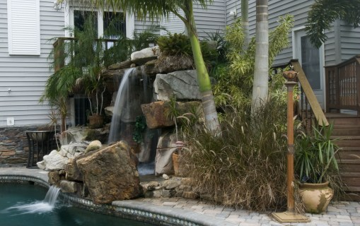 Tall Grotto Waterfall Lagoon Pool Remodel