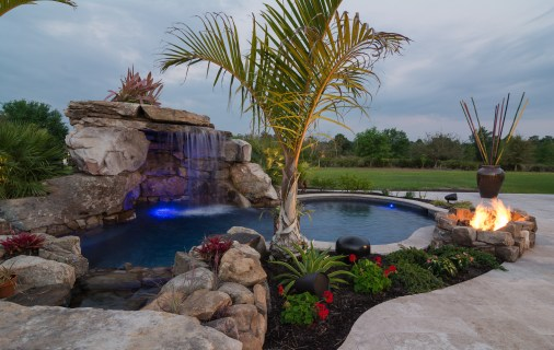 Main Lagoon Pool with large grotto and fire pit