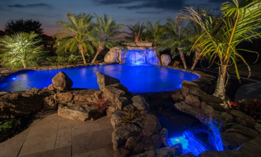 Night view of Therapy Pool and Stream