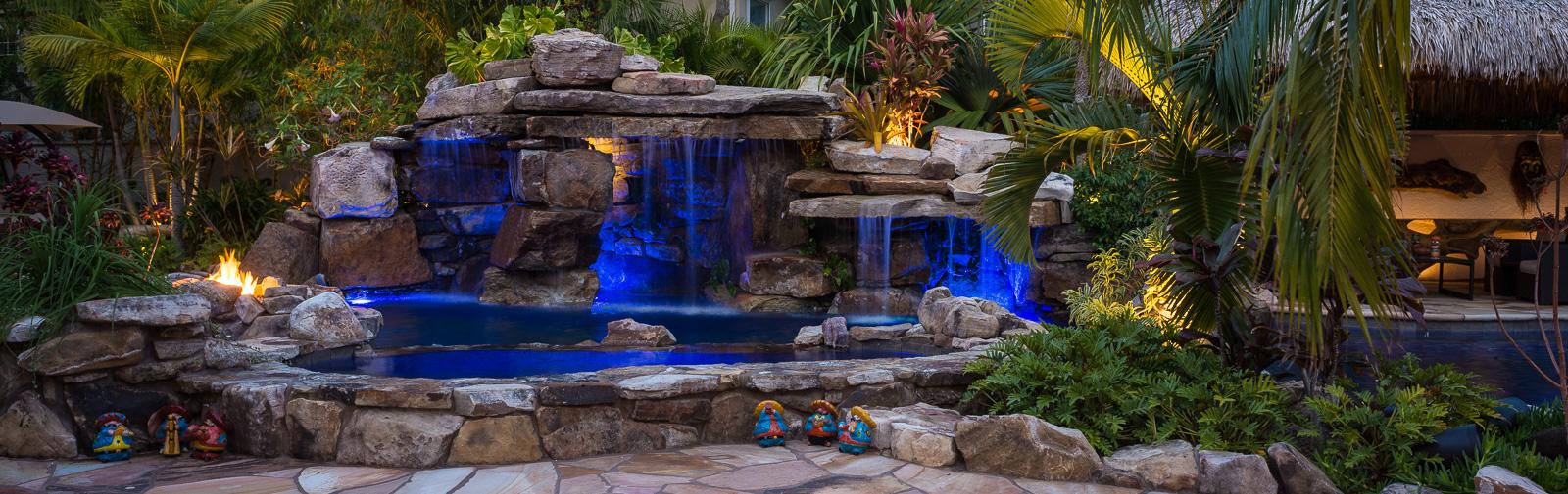 Design Waterfall Pools custom rock waterfall pool grotto spa natural stream tiki hut siesta key pools panorama