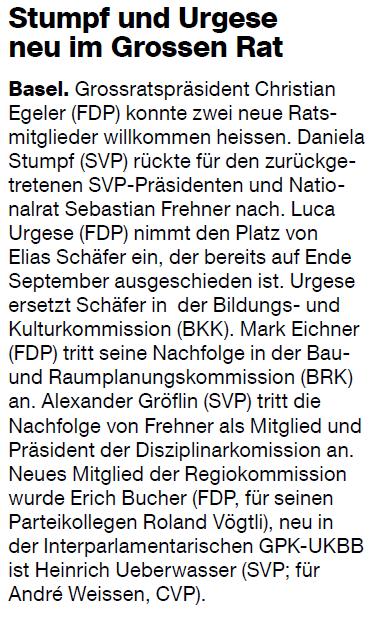 Basler Zeitung: Stumpf und Urgese neu im Grossen Rat