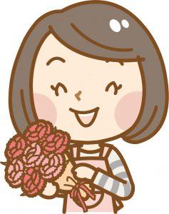 花束を持つ母のイラスト