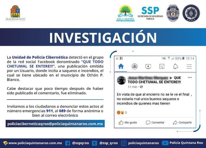 Investigan incitación a saqueos en Chetumal