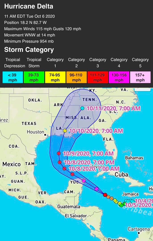 Huracán Delta ya es categoría 4
