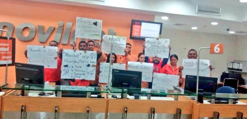 Trabajadores de Movilnet exigen salario digno y mejores condiciones laborales