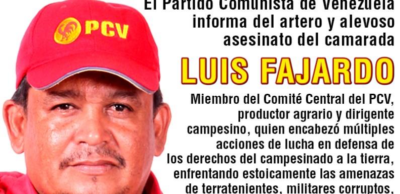 Condena del vil asesinato de Luis Fajardo (PCV)