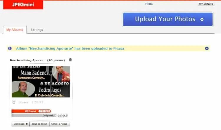Publica tus imágenes de JPEG Mini en Flickr o Picasa