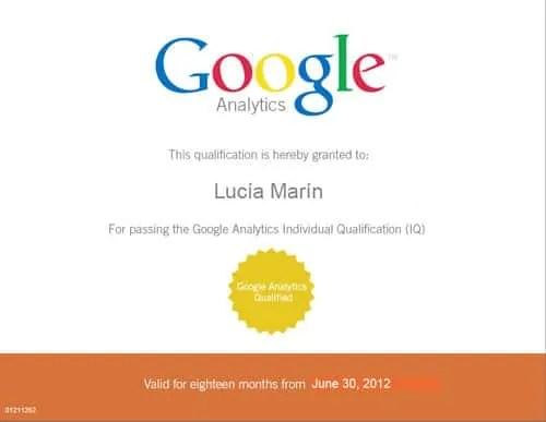 Certificación oficial de Google Analytics, herramienta de Analítica Web de Google