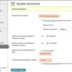 WordPress: Ajustes de Lectura