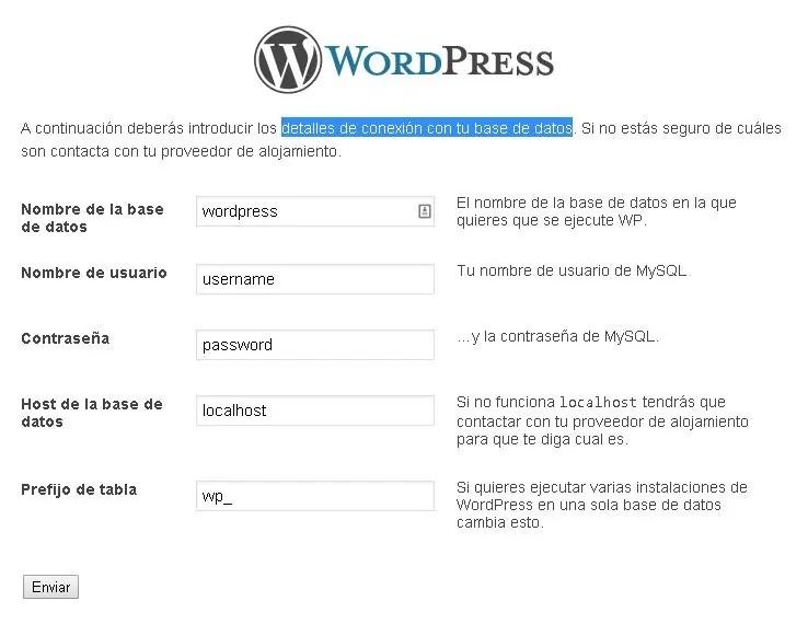 Cómo instalar WordPress paso a paso: Rellena los datos de conexión a tu base de datos MySQL