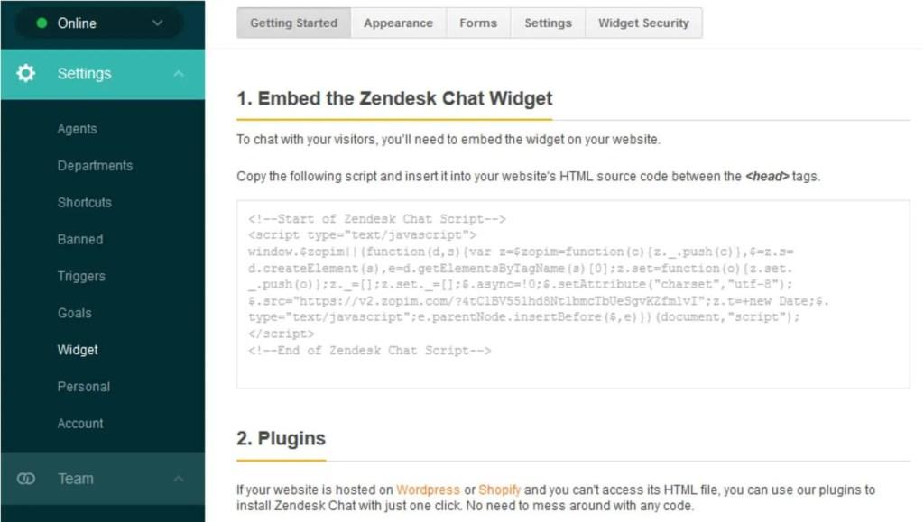 Código de Zopim Live Chat - Plugin WordPress