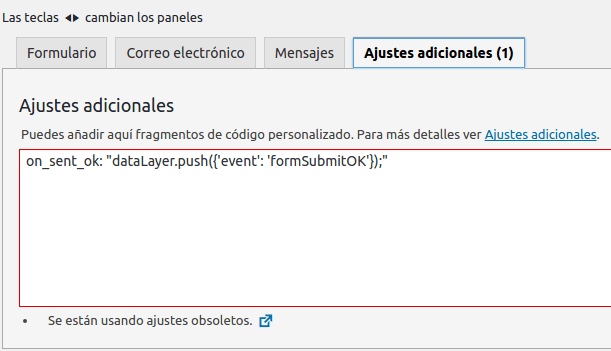 Se están usando ajustes obsoletos - Plugin Contact Form 7 de WordPress