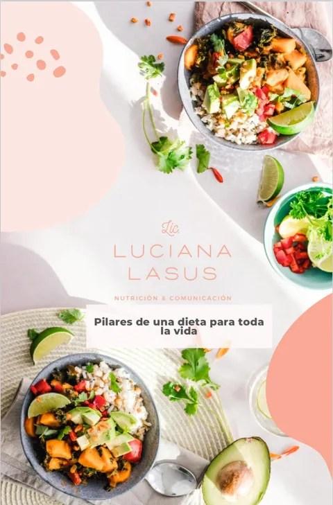 Portada del ebook guia nutricional pilares de una dieta para toda la vida, muestra ensaladas, verduras, comida sana desplegada en una mesa