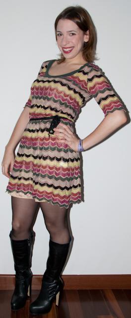 Blog de moda- Look do dia: como usar vestido estampado Missoni curto cinto maria filo bota ellus - blog de moda
