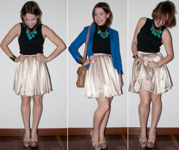 look do dia: como usar saia rodada de cintura alta American Apparel com blazer azul klein H&M e peep toe santa lolla com maxi colar, bracelete e anel duplo. Blog de moda