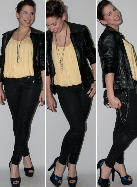blog de moda - look do dia: como usar calça preta skinny, blusa balone, sandalia arezzo, jaqueta de couro e clutch paetês. Blog de moda
