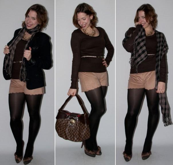Look do dia: como usar short com meia calça, preto com marrom. Blog de moda, short de camurça