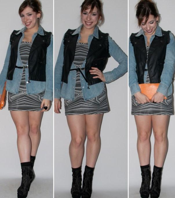Blog de moda: como usar vestido tomara-que-caia com camisa jeans, colete de couro, bota de renda e clutch louis vuitton. Look do dia