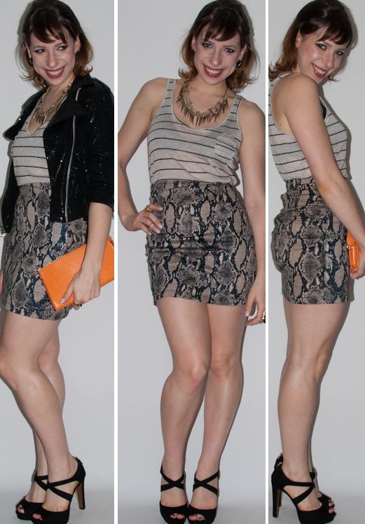 Look do dia: como usar saia de cintura alta de estampa de cobra. Como usar mix de estampas com jaqueta de paetês. Blog de moda