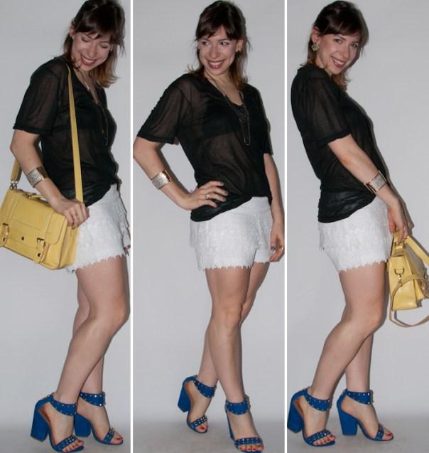 como usar short de renda - look com short de renda, blusa podrinha e sandália schutz - blog de moda