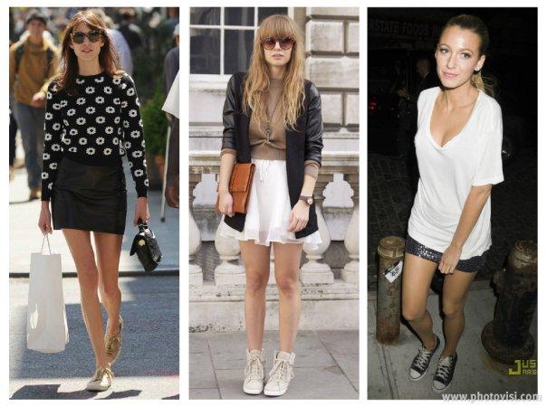 Dicas de moda sobre como usar tênis que compõem looks casuais - saia 1