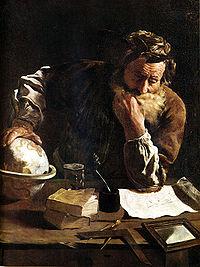 Wikipedia: Archimede in un dipinto di Domenico Fetti (1620)