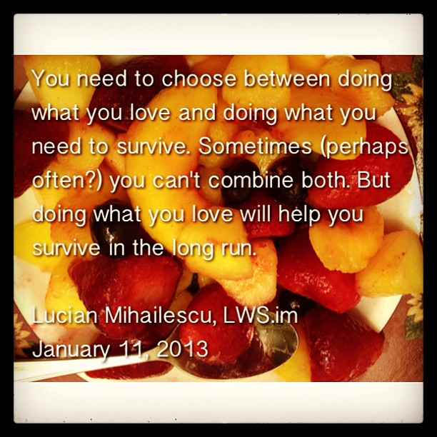 Survive or do what you love? Can you do both?