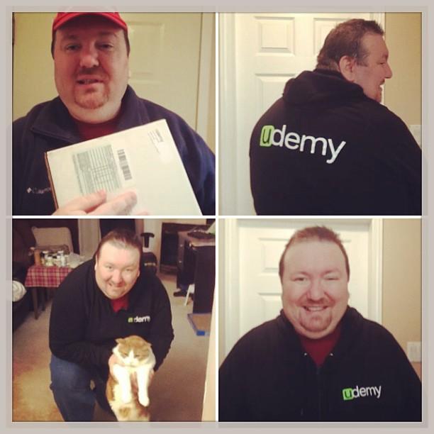 Got my Udemy sweatshirt! Thanks from Mr. Tom & I! @udemy