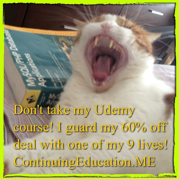Don't take my @Udemy course! I guard my 60% off deal with one of my 9 lives! !