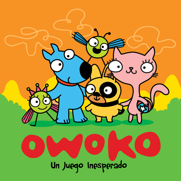 Book cover - cats dogs and owokos in team pose - tapa del libro - perros y gatos posando como equipo