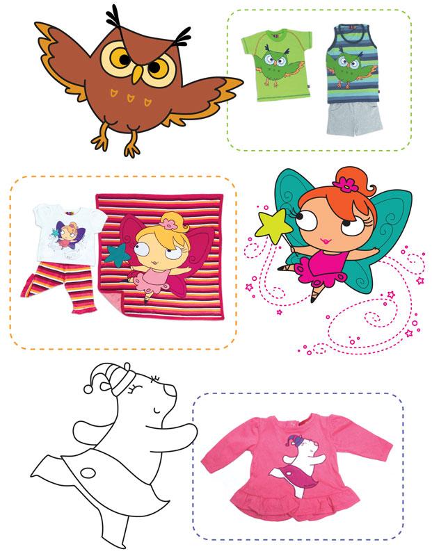 owl_fairy_bear_character_on_kids_clothing_owoko - Buho, hada y osa polar aplicados a ropa para niños Owoko