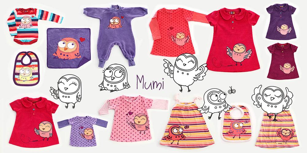 owl_character_on_kids_clothing_owoko - Lechuza aplicada en ropa para niñas Owoko