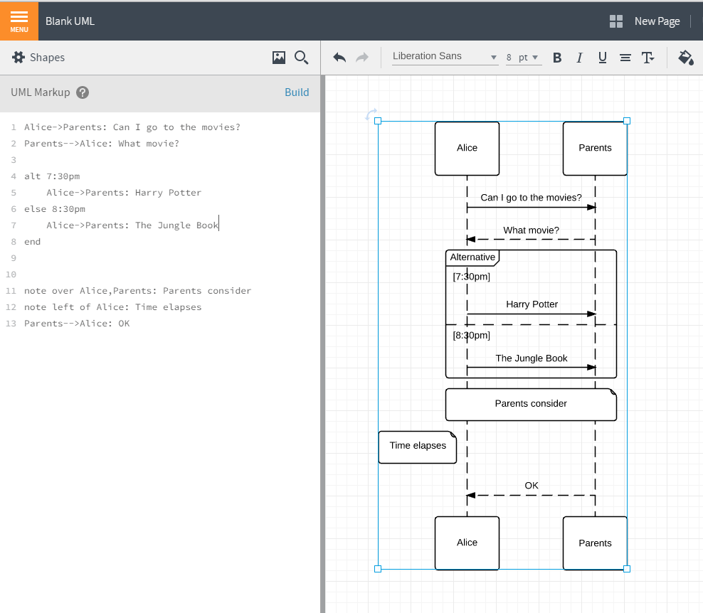 uml sequence diagram alternate flow starter generator wiring markup lucidchart since auto generates a from the text you enter can use time save to return your code or watch star wars