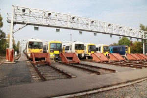 Trains in a depot