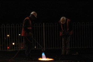 Railworkers at night