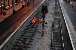 Technicians on a rail track