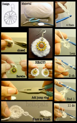 DIY spring crochet earrings