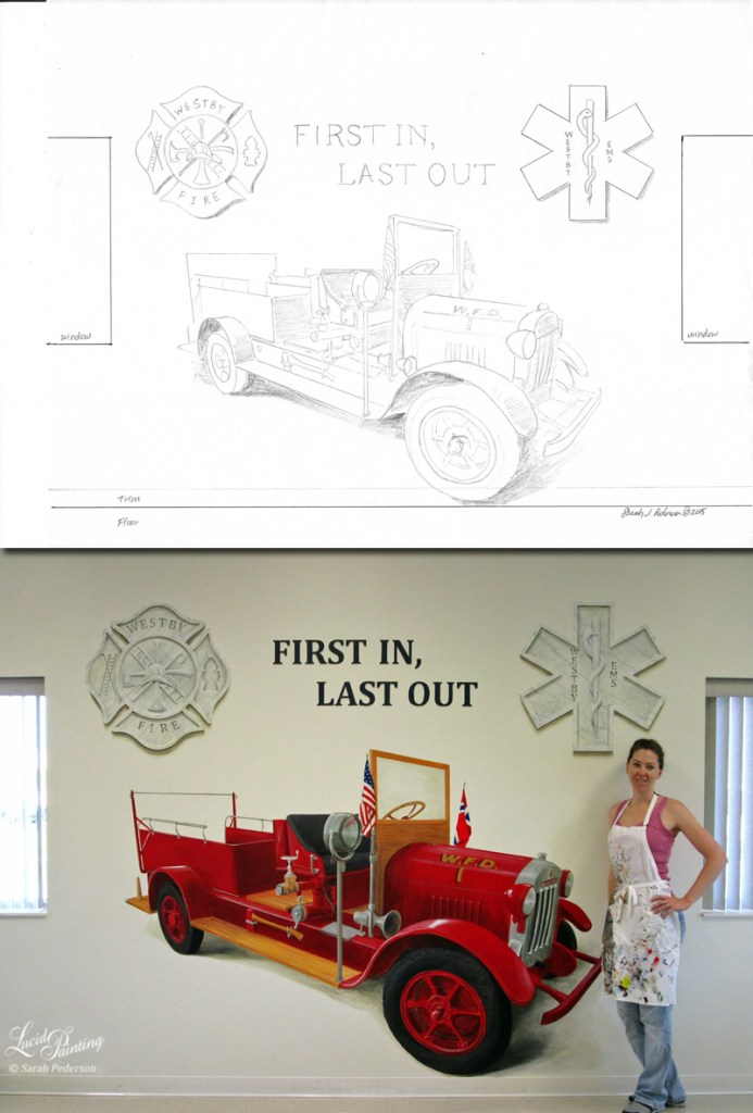 I draw all sketches to scale, including this one that has a fire engine and faux marble emblems between two windows of this fire station.
