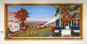 A blue farm house is up in flames and three firemen are hosing down the flames. Water runs in rivulets across the sidewalk, past their feet and down toward their fire engine. The sun is setting and the colors of the corn and distant trees show a fall landscape. A tricycle near the porch indicates children live in the home.