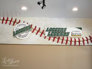Detail image of the logo murals for La Crosse Loggers Baseball and Loggers Legends Presented by Borton Construction.