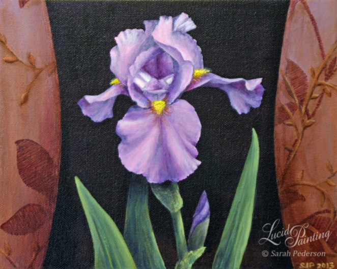 Purple iris on black background that is shaped like a vase. sides portray looping floral design.