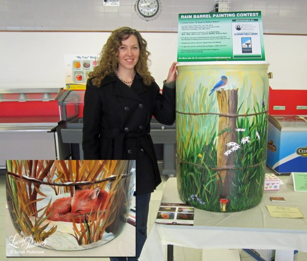 Four seasons painted onto the sides of Sarah's award winning rain barrel.
