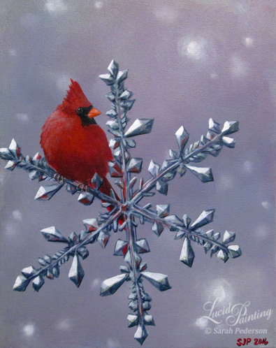 A realistic looking male cardinal sits on a large snowflake. The background is a variety of lavender, pink, and blue. The red of the cardinal reflects in the facets of the snowflake. Fine art on canvas.